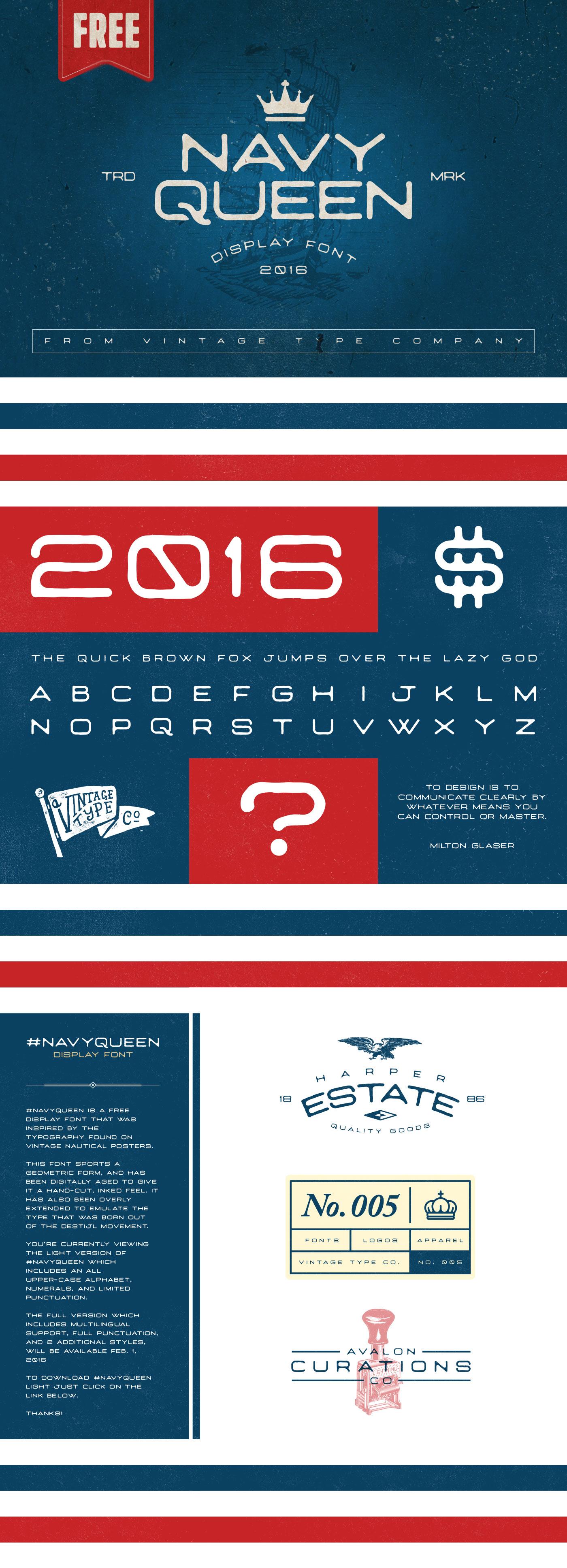 Free Font Navy Queen LT 2016